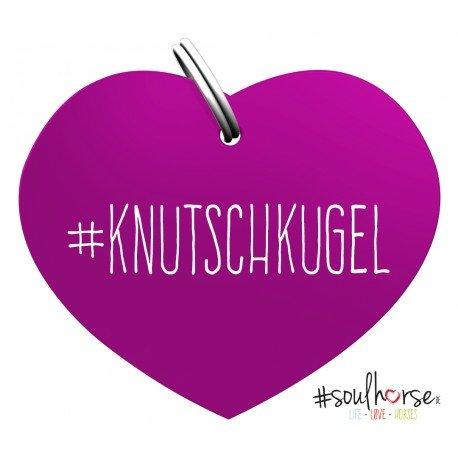 Pferde Glücksmarke Herzmarke 'Knutschkugel' in lila von Soulhorse