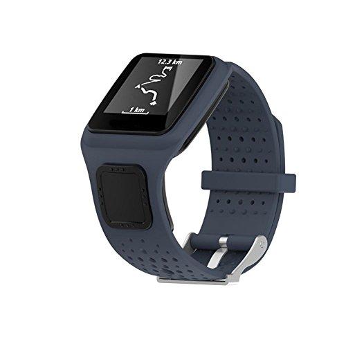Ansenesna Sportuhr Armband Einstellen Ersatz Silicagel Uhrenarmband für Tom Multi Sport / Cardio GPS Watch (Grau)
