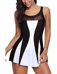 a6b9334d0138 Hungo Badekleid Einteiler mit Röckchen Damen Bademode Push Up Badeanzug  Figurformend Schwimmanzug