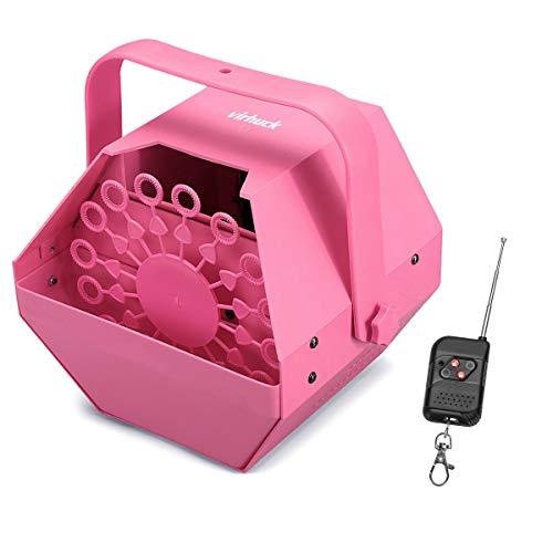 Virhuck 1L 25W Mini Seifenblasenmaschine Seifenblasen Bubble Machine Outdoor und Indoor Benutzung, Beste Effekt für Hochzeit und Kinder, Weihnachtensgeschenke (Rosa)
