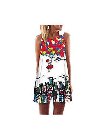 Yiyada Mujeres Túnica casual sin mangas de la impresión floral de la vendimia atractiva mini A - alinee los vestidos de partido Beachwear del bikiní de la playa (XL, 12)