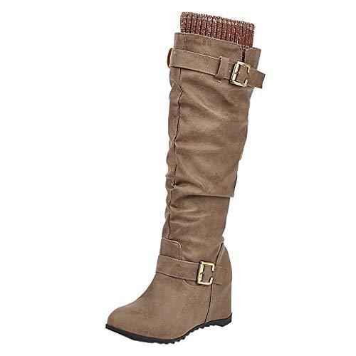 WERVOT Stiefel Damen Freizeitstiefel mit Keilabsatz Winter Langschaft Stiefel Lange Stiefel