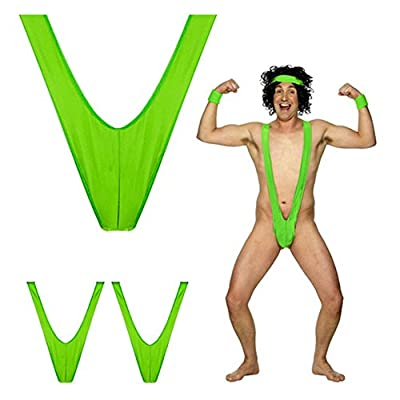GGG Charm Men Sexy Mankini Beach Swimming Thong Suspender Underwear Bodysuit Costume Swimwear Party Green