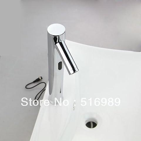 TougMoo 100%laiton robinets électroniques automatique de l'eau chaude et froide Robinet mélangeur lave main sens Bassin DC6V/Ac Auto-Sensor SF-06,laiton robinet