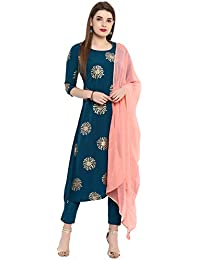 Janasya Women's Turquoise Blue Poly Crepe A-Line Kurta With Pant And Dupatta