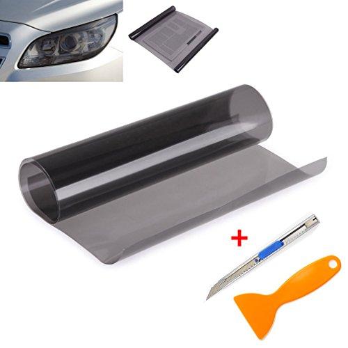 2 PCS Scheinwerfer Folie Tönungsfolie Aufkleber 120cm x 30cm für Auto Scheinwerfer Rückleuchten Blinker Nebelscheinwerfer (Hellschwarz)