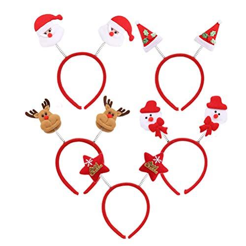 Frcolor 5 x Weihnachts-Stirnbänder Weihnachtsmann Schneemann Stern Hut Stirnband Weihnachten Foto Booth Requisiten für Kinder Erwachsene Geschenke Weihnachten Party Cosplay Kostüm