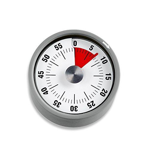 ADE Mechanischer Küchentimer TD 1708. Klassischer Kurzzeitmesser mit Rundskala zum Aufziehen. Durchmesser 6 cm. Akustisches Signal nach Zeitablauf. Zuverlässige Eieruhr. Farbe: Grau