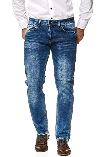 Jeel Herren-Jeans - Regular Straight Cut - Stretch - Jeans-Hose Basic Washed (Hersteller 30W) 29W/33L 71913-Blue -