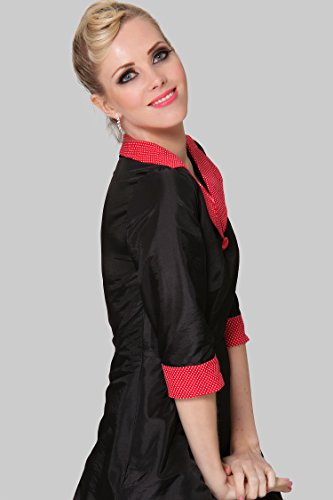 SEXYHER Damen 1950 Vintage Style Red Kragen klassische verkleiden - RBJW1617 Schwarz-24T