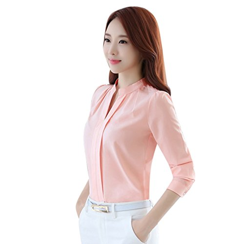 Yalatan Autumn Ladies Tops Long Sleeve Casual Chiffon Female V-Neck Work Wear Solid Rosa