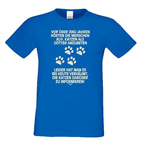 Geschenk für Katzenfreunde :-: Motiv T-Shirt Katzen :-: Katzen als Götter :-: Geschenkidee für Tier-Freunde zum Geburtstag Vatertag Weihnachten :-: Farbe: royal-blau Royal-Blau