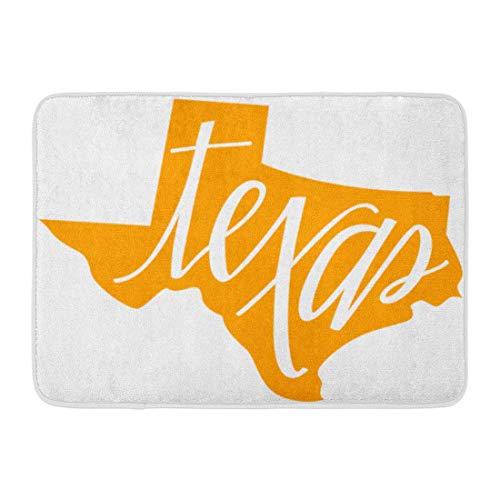 LIS HOME Fußmatten Bad Teppiche Outdoor/Indoor Fußmatte Longhorn Texas State Gliederung und Hand Schriftzug Karte America United Badezimmer Dekor Teppich Badematte (Longhorns-geschenk-karte)