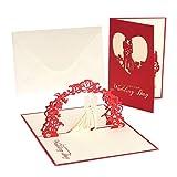 Hochzeitskarte, Grußkarten mit Umschlag, Hochzeitskarte Dekorative Blume, Pop-up-Karte für Gratulation und Einladung