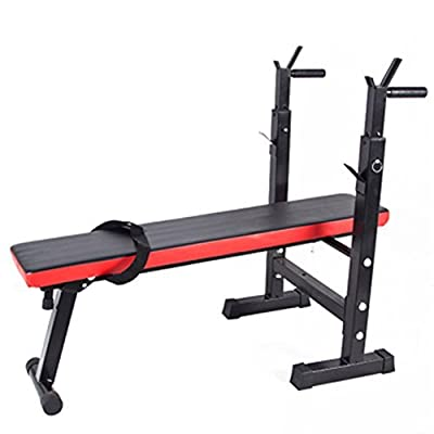 Homgrace Weight Bench Folding Multifunctional Sit Up Bench Dip Station with Adjustable Barbell Rack, Training Bench for Lifting Chest Press Exercise Home Gym (black/red) by Homgrace