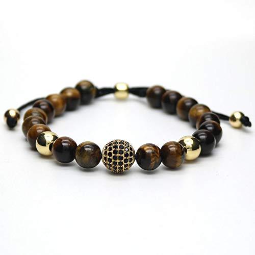 Imagen de opalqkn pulseras con dijes macrame de bola negra masculina de color dorado pulsera de piedra con ojo de tigre