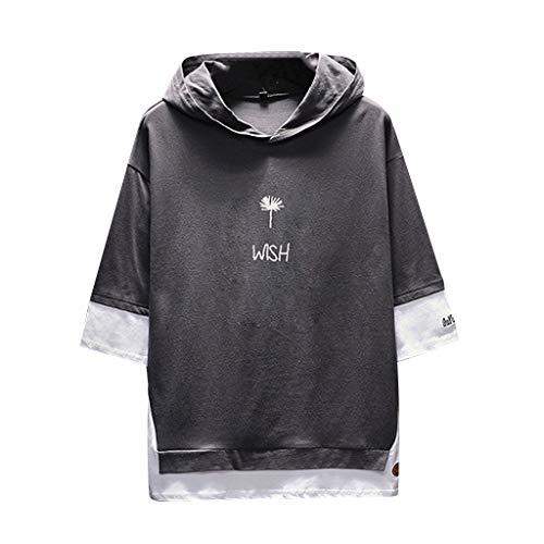 REALIKE Herren Drucken Hoodie Kurzarmshirt Mode Loose Fünf-Punkt-Ärmel T-Shirt Freizeit Bequem Atmungsaktiv Baumwolle Tops Männer Viele Farben Mehrere Größen Blusen Oberteile -