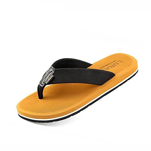 ALUK- Sandales d'été - Pantoufles d'hommes avec l'Europe et les États-Unis Tendance de chaussures de plage ( Couleur : Marron , taille : 44 ) Marron