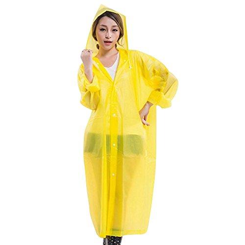 Cuitan Portable Adulte Vêtements de pluie, (Taille: 145 * 70cm) EVA Translucide Poncho Pluie avec Capuche et Manches Manteau de Pluie Imperméable à capuche Veste de pluie Cape de Pluie pour Extérieur  Jaune