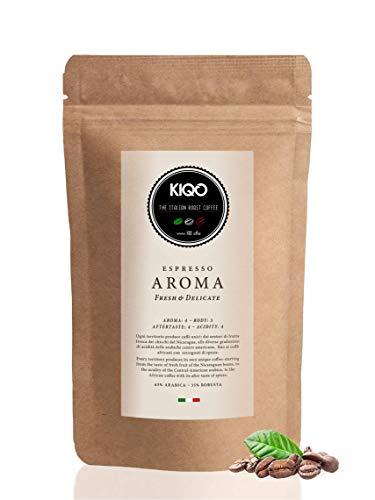 KIQO Aroma 1kg Espresso aus Italien | in schonenden Kleinstchargen geröstet | säurearm | 65% Arabica & 35% Robusta Bohnen (1000g - ganze Bohnen)