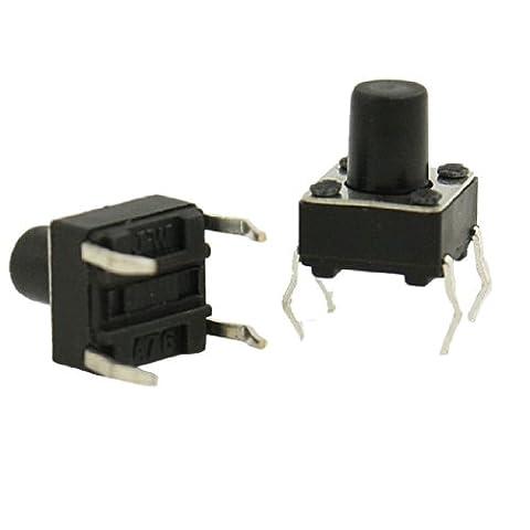 100PCS 4Pin Schwarz Rund Push Button Momentary Taktile Schalter 6x