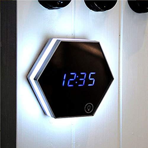 Multifunktionsspiegelwecker Tragbarer LED-Schminkspiegel-Nachtlicht-Digitalanzeigen-Hängespiegelwecker-silver - Touch-screen-wecker