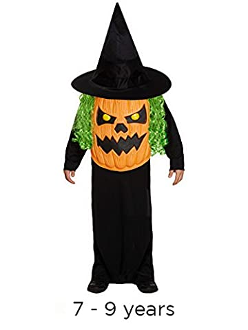 Children's Halloween Jumbo Pumpkin Head Face Fancy Dress Costume-7-9 Years