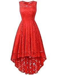 4f6fbbafa Vestido Fiesta Mujer Encaje Alto Y Bajo De CóCtel Sin Mangas con Cuello  Redondo Y Fiesta