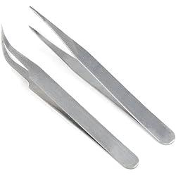 TRIXES 2 Pinzas para Decoración de Uñas; Gel Acrílico Diamante de Imitación Brillantitos Pegatinas Tenazas Alicates
