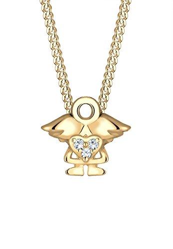 Elli Kinder Echtschmuck Halskette Silberkette mit Anhänger Kids Mädchen Herz Cut Out Basic Trend Swarovski Sterling Silber 925 Länge 36 cm