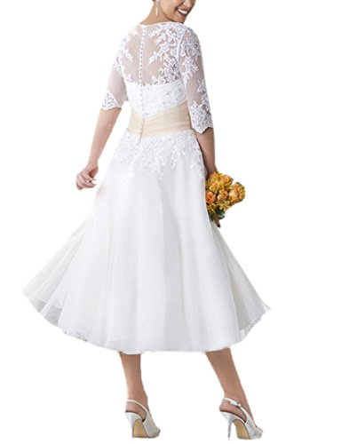 Ikerenwedding - Robe - Trapèze - Manches Courtes - Femme Small Blanc