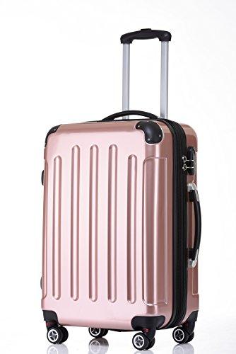 BEIBYE Hartschalen Koffer Trolley Rollkoffer Reisekoffer 4 Zwillingsrollen Polycabonat (Rosa Gold, Kofferset) - 2