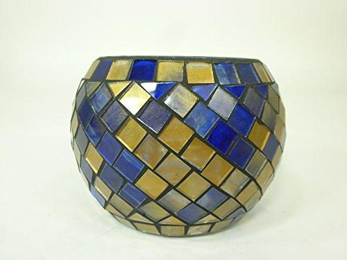 Windlicht-Glas aus Mosaiksteinen Mosaik-Teelichthalter H8,5xD12cm Kerzenhalter Teelicht-Glas handgearbeitet Dekoration Tischdekoration (Blau-gold) -