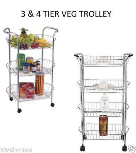 Servierwagen zur Aufbewahrung von Gemüse in der Küche, 3Ablagen, Chrom, oval, Standfunktion, metall, 4 Ablagefächer