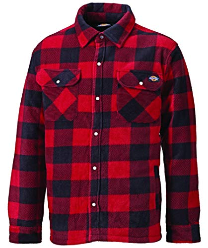 flanellhemd rot schwarz kariert DICKIES Holzfällerhemd Thermohemd PORTLAND (M, rot/schwarz)