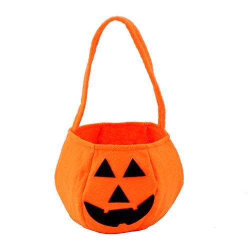 SXJJQAQ Halloween tragbare Kürbis-Tasche, Kindergartenkinder, dreidimensionale Bonbontüte, Vlies, Geschenktüte, dekorative Requisiten (Halloween-süßigkeiten Zum Verkauf)