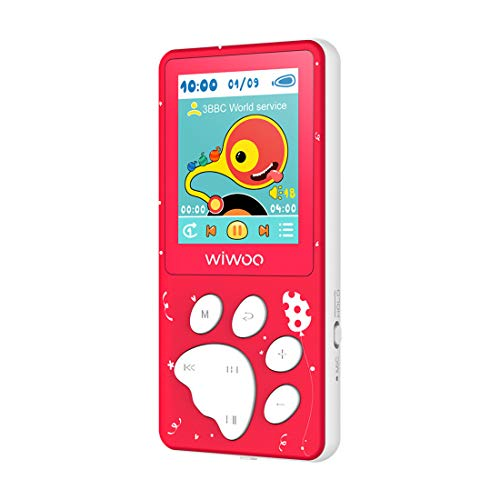 Wiwoo Kinder MP3 Player, Cartoon Bear Paw Button Musikplayer mit UKW Radio Puzzlespiele Fotobetrachter Sprachaufnahme, 8GB Speicherunterstützung Bis 128 GB TF Karte (B4 Rot)