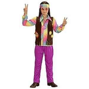 WIDMANN 73346?Disfraz para niños Hippie Niño, Camiseta, Chaleco angenähte, Pantalones y Cinta, Lila, tamaño 128