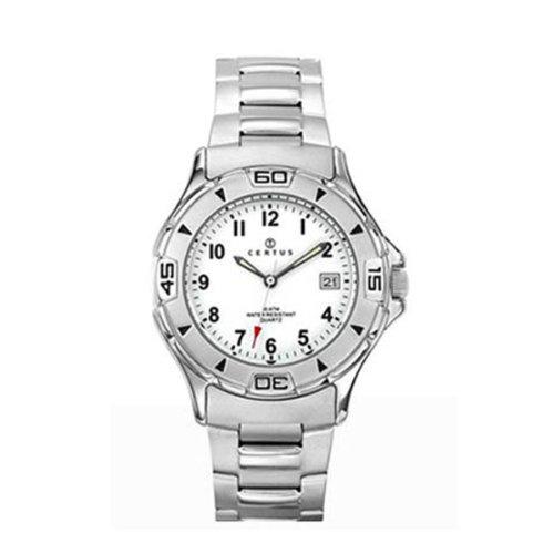 Certus 616801 - Reloj de cuarzo para hombre, con correa de acero inoxidable, color plateado