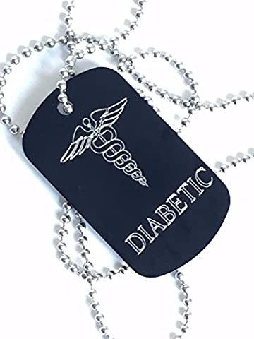 DIABETIKER Tag mit Silber Schriftzug Medical ID Tag + Edelstahl Kette (P1)
