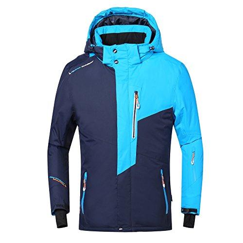 Phibee Herren Wasserdichte Winddichte Outdoor Fleece Snowboard Skijacke Blau L