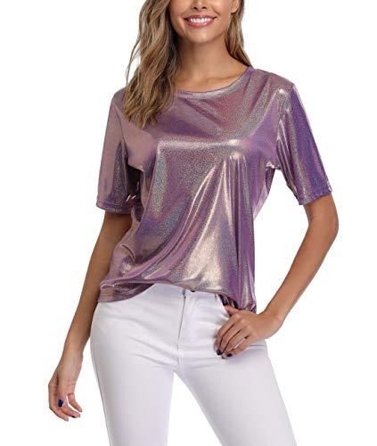 Dilgul Summer Tops und T-Shirts für Frauen Shimmer Sparkle Holographic Glitter Metallic Kurzarm Bluse Sparkle