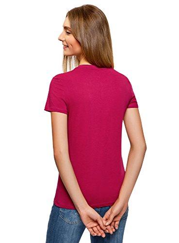 oodji Ultra Donna T-Shirt in Cotone con Scollo Rotondo Senza Etichetta Rosso (4C00N)