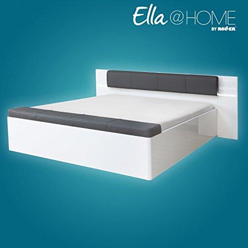 ROLLER Bett - grau-weiß Hochglanz - Kunstleder - Beleuchtung - Fußbank - 180x200 cm