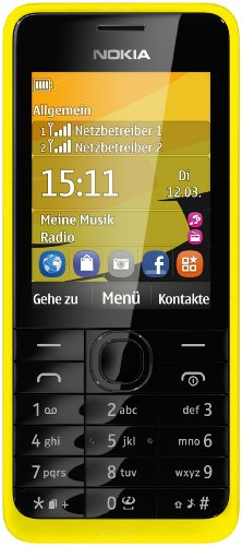 Nokia A00012832 301 Handy (6 cm (2,4 Zoll) Farbdisplay, Dual-SIM, 3,2 Megapixel Kamera, Bluetooth, SD-Kartenslot) gelb
