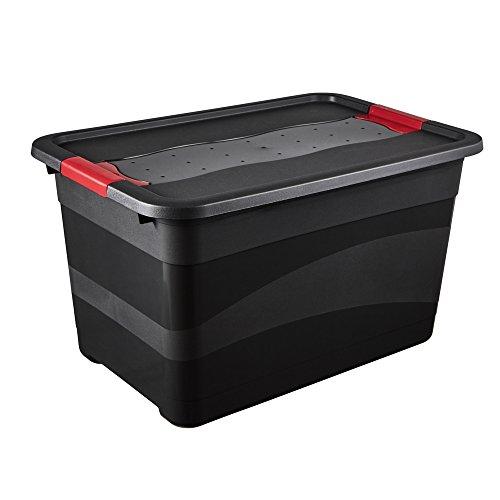 keeeper Transportbehälter mit Deckel und Schiebeverschluss, Extra Stabil, 59,5 x 39,5 x 34 cm, 52 l, Eckhart, Graphit Grau
