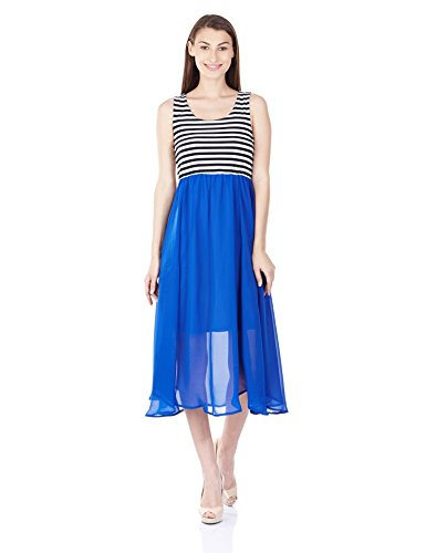 Harpa Women's Georgette Skater Dress (GR2630_Royal Blue_Small)  available at amazon for Rs.540