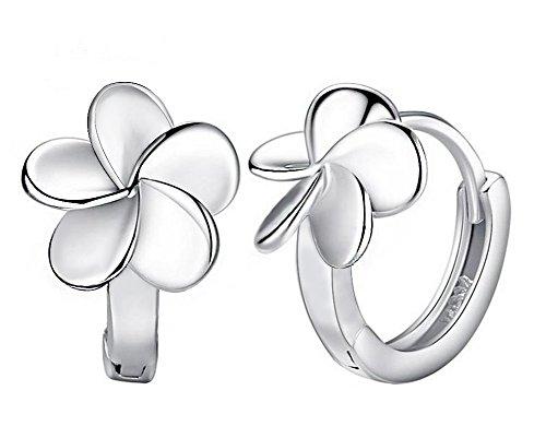Hosaire Pendientes plata flores esmerilado Moda Muchachas