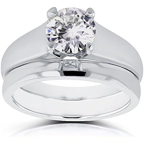 Classic redondo solitario de novia de diamante 1quilate en 14K oro blanco _ 6,5