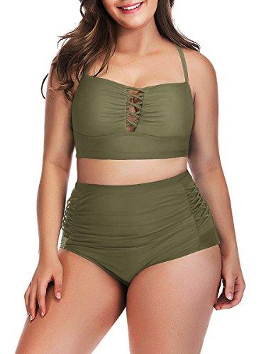 ClasiChic Verstellbare Träger Hoher Taille Badeanzug Verband Bikini Set Retro Bademode Plus Size, Armee Grün, EU50-52=Tag Size ()